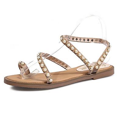 Plano Tacón Negro Confort Zapatos PU 06680032 Almendra Sandalias Verano Mujer Cuentas gYqX81f