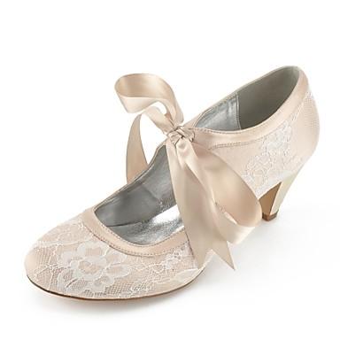 povoljno Ženske cipele-Žene Vjenčanje Cipele Stožasta potpetica Čipka Udobne cipele Ljeto Pink / Svjetlosmeđ / Kristalne / EU41