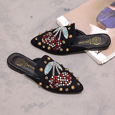 pointu Eté Mules Confort Noir Plat 06713874 amp; Femme Paillette Brillante Bout Sabot Polyuréthane Chaussures Kaki Talon Marche Strass A4PwWqUFx