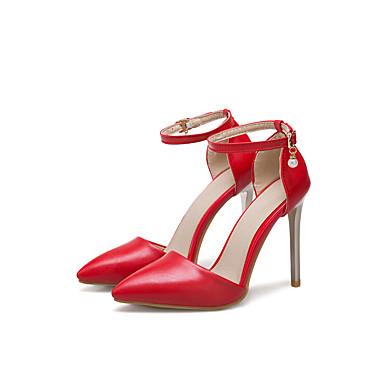 Bout Talon Noir 06668408 Blanc Femme à Chaussures pointu Confort Chaussures Similicuir Eté Rouge Talons Aiguille n0wqfzFA