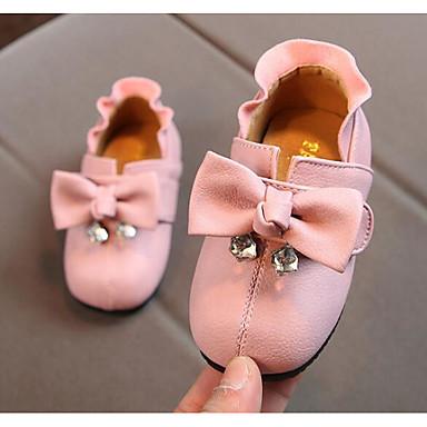 Fete Pantofi Piele Primăvară Confortabili / Primii Pași Mocasini & Balerini pentru Negru / Rosu / Roz