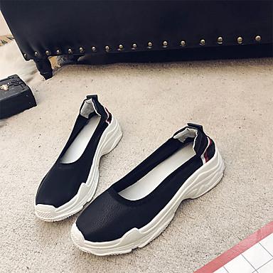 Zapatos Plano taco bajo Dedo Zapatos On PU Verano Slip 06681521 y Negro Mujer Blanco redondo Confort de Tacón HnCqwq7d