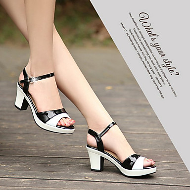Zapatos 06688647 Confort PU redondo Almendra Sandalias Mujer Verano Cuadrado Tacón Dedo Negro awdqax