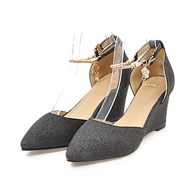 Or Automne 06698307 Boucle Chaussures Noir pointu Talons Paillette Femme compensée Rivet Bout Hauteur à Chaussures de semelle Basique Escarpin wqaUR4E