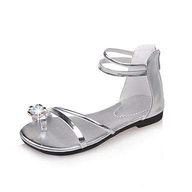 Plata Zapatos Verano abierta Dorado Paseo Negro Plano Cristal Tacón Puntera Sandalias Confort 06695412 PU Mujer BaqWZAwOw