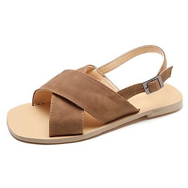 Pentru femei Pantofi PU Vară Pantofi pe Gleznă Sandale Toc Drept Cataramă Migdală / Kaki