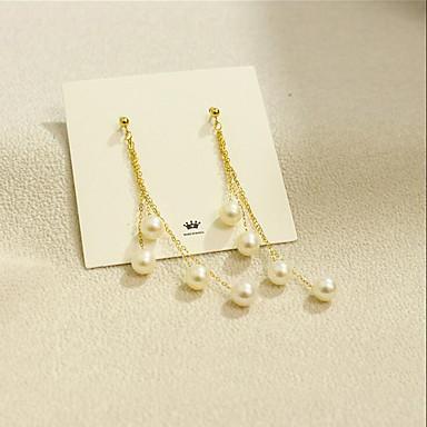 preiswerte Ohrringe-Damen Süßwasserperle Tropfen-Ohrringe Mehrlagig Koreanisch Modisch Mehrlagig 18 karat vergoldet Süßwasserperle Ohrringe Schmuck Gold Für Party Geschenk