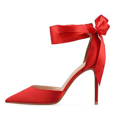 Talon Chaussures Noir Chaussures Bout Talons Rouge Aiguille Ruban Soie Escarpin Basique 06669403 à Automne Chair Femme pointu Eté fzRqqU