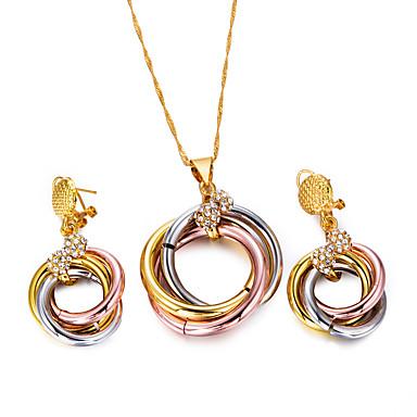 levne Dámské šperky-Dámské Sady šperků Náušnice - Kruhy Náhrdelníky s přívěšky Silný řetězec dámy Cikánské Módní Cikánský Náušnice Šperky Zlatá / Černá Pro Párty Dar / Řetízky