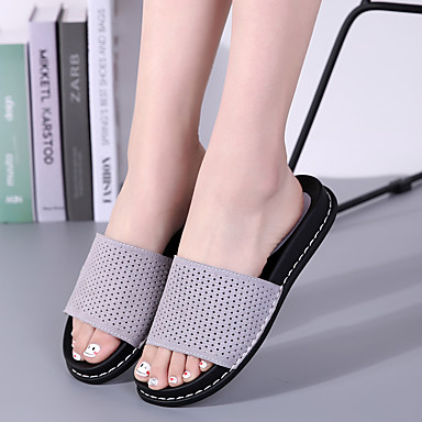 Tongs Printemps Chaussures Marron 06716774 Confort Plat Chaussons Gris Daim amp; Talon Kaki été Femme q60AA