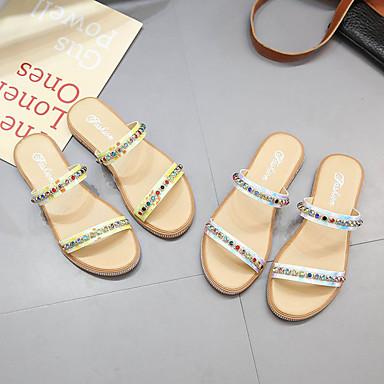 Tacón 06671967 PU flip Verano Mujer Confort Zapatos Amarillo y flops Zapatillas Azul Plano fWn78FB
