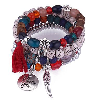 billige Motearmbånd-Vedhend Armband Perlearmbånd Dusk Stable stables Fjær damer Europeisk Etnisk Mote Akryl Armbånd Smykker Mørkeblå / Grå / Rød Til Daglig
