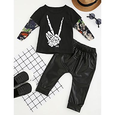 Boys' Patchwork Fashion Clothing Set, Cotton Poly-Cotton Spring/Fall Spring Long Sleeves Dresswear Black