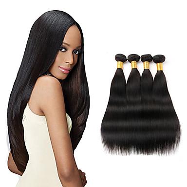 İri Dalgalı Peru Saçı Düz Virgin Saç İnsan saç örgüleri 4 Paket 8-26inç İnsan saç örgüleri Siyah