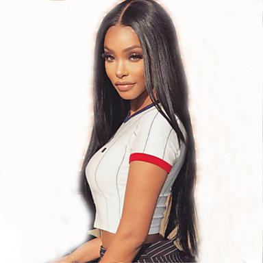 Remy Human Hair Full Lace Wig Brazilian Hair Straight Black Wig