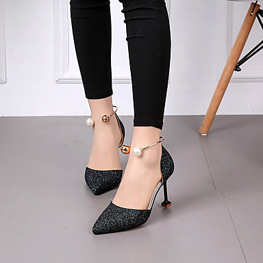06701793 Plateado Stiletto Negro Pump Tacón Verano PU Puntiagudo Mujer Dedo Tacones Zapatos Boda Dorado Básico Lentejuelas xSASOZ
