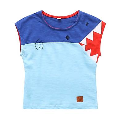 Dzieci Dla chłopców Aktywny Kolorowy blok Bez rękawów Poliester T-shirt Jasnoniebieski 100