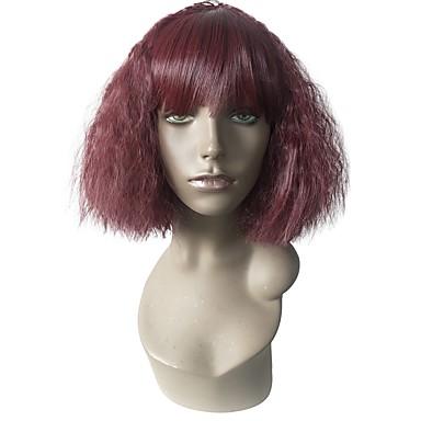 Peruki syntetyczne Kędzierzawy Fryzura Bob / Fryzura cieniowana Włosy syntetyczne Termoodporny / Damskie / sentetik Czerwony Peruka