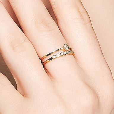 billige Motering-Dame Band Ring Diamant Kubisk Zirkonium liten diamant Gull 18K Gullbelagt S925 Sterling Sølv Sirkelformet Dainty damer Koreansk Gave Aftenselskap Smykker