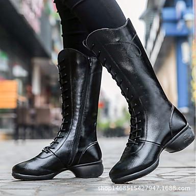 f79ebb10c Women s Dance Boots Cowhide Heel Cuban Heel Customizable Dance Shoes White    Black   Red   Practice