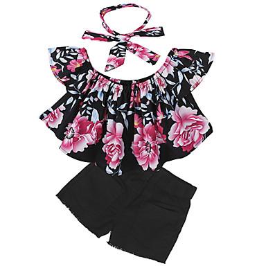 Copil Fete De Bază Floral Fără manșon Set Îmbrăcăminte