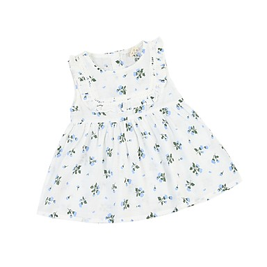 c2ee1a233bd1e2 Toddler Girls  Active   Basic Daily   School Blue   White Floral Lace  Sleeveless Above Knee Cotton Dress Blue 2-3 Years(100cm)  06664299