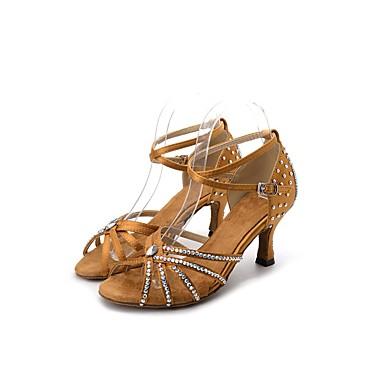 879e9b29772f Γυναικεία Παπούτσια χορού λάτιν Σατέν Πέδιλα / Τακούνια Τεχνητό διαμάντι Τακούνι  καμπάνα Εξατομικευμένο Παπούτσια Χορού Καφέ