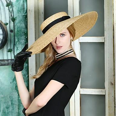 billige Hodeplagg til fest-Naturlig Fiber Kentucky Derby Hat / Hatter med Flettet bånd 1pc Avslappet / Dagligdagstøy Hodeplagg