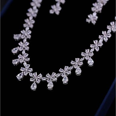 Damskie Cyrkonia Biżuteria Ustaw - Kwiat Moda, Elegancja Zawierać Kolczyki drop Naszyjniki z wisiorkami Biały Na Ślub Zaręczynowy