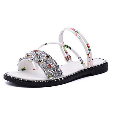 Negro Mujer Tacón 06710363 Zapatos Descubierto Plano Blanco Verano Talón Sandalias PU avzqrwYa