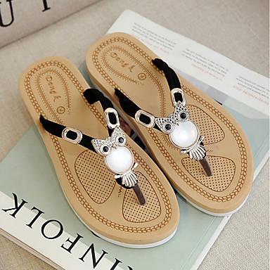06701724 Tacón y flip Zapatos Mujer PU Negro flops Zapatillas Plano Verano Fucsia Confort Beige fUqRwC