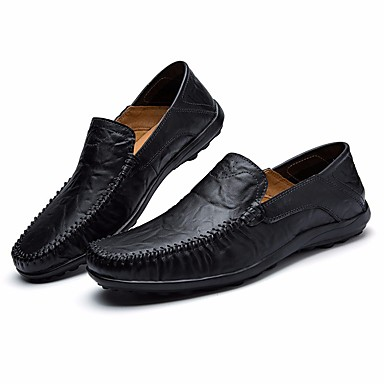 Men's Cowhide Spring Comfort Loafers & Slip-Ons / Black / Dark Blue / Slip-Ons Light Brown 57d1d1
