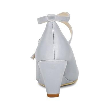 Femme semelle rond Satin Bleu Basique été de Bout compensée Boucle mariage 06694386 Chaussures Escarpin de Chaussures Printemps Hauteur 66Pwqrx