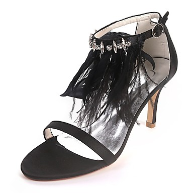 Pentru femei Pantofi Satin Primavara vara Balerini Basic pantofi de nunta Toc Stilat Vârf deschis Piatră Semiprețioasă / Pene Alb / Negru