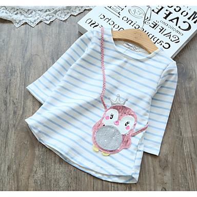 baratos Blusas para Meninas-Infantil Para Meninas Activo Estampado Manga 3/4 Camiseta Rosa