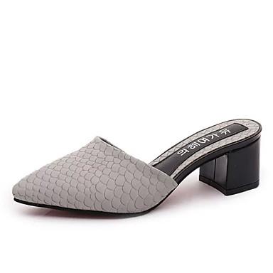 Zuecos Puntiagudo Dedo Semicuero claro verano y Tacón Negro pantuflas Gris Cuadrado Fucsia 06702625 Descubierto Zapatos Mujer Primavera Talón fwqYaP7