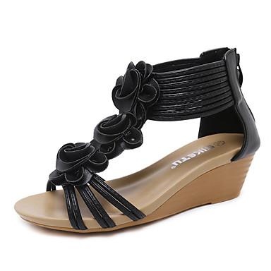 synthétique PU Fleur semelle Satin de microfibre Nouveauté Eté Bout 06685192 de Chaussures compensée Noir Hauteur Amande Sandales rond Femme en wF4qI5