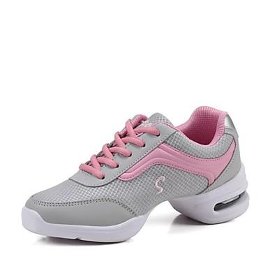 baratos Shall We® Sapatos de Dança-Mulheres Sapatos de Dança Malha Respirável Tênis de Dança Têni Salto Baixo Personalizável Preto / Branco / Cinzento