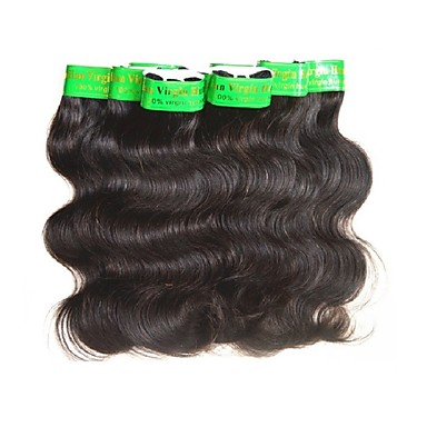 baratos Extensões de Cabelo Natural-20 pacotes Cabelo Indiano Onda de Corpo 10A Cabelo Virgem Cabelo Natural Remy Extensões de Cabelo Natural Tecer Côr Natural Tramas de cabelo humano Macio Suave Venda imperdível Extensões de cabelo