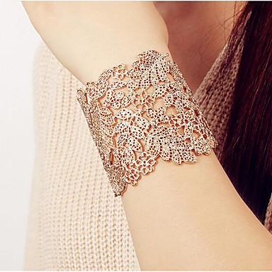 abordables Bracelet-Bracelet Jonc Large bracelet Femme Creux Gros Fantaisie dames Rétro Vintage énorme Italien Bracelet Bijoux Dorée Argent Forme Géométrique pour Rendez-vous Plein Air