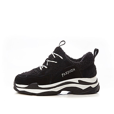 Basket Automne fluff Cachemire Femme Chaussures Noir Bout Creepers Doublure 06683004 rond hiver RxwYwFnq7
