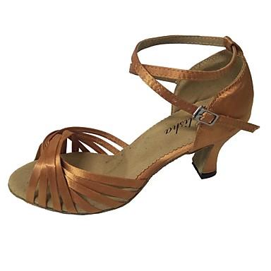 Damskie Buty do latino Satyna Sandały Kubański obcas Personlaizowane Buty do tańca Beżowy / Czerwony / Migdałowy / w pomieszczeniach