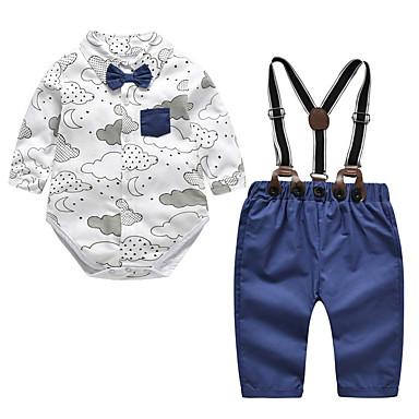 Bebelus Băieți Activ Imprimeu Imprimeu Manșon Lung Bumbac Set Îmbrăcăminte / Copil