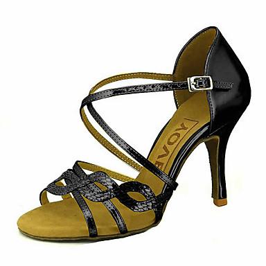 Mulheres Sapatos de Dança Latina / Sapatos de Salsa Glitter / Courino Sandália / Salto Presilha / Cadarço de Borracha Salto Personalizado