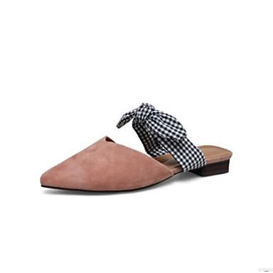 Damskie Obuwie Skóra Wiosna / Lato Comfort Chodaki i klapki Gruby obcas Pointed Toe Black / Coffee / Różowy