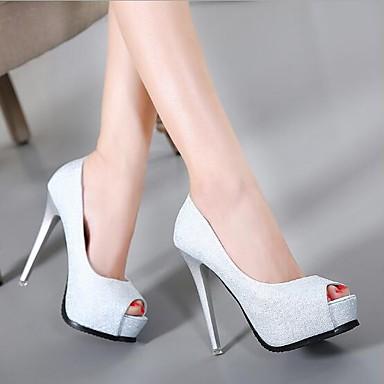 Damskie Obuwie PU Lato Comfort Sandały Szpilka Silver / Różowy