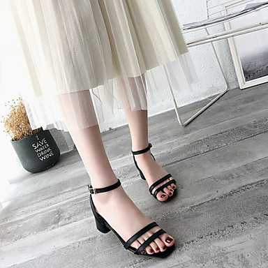 Verano Tacón Cuadrado Beige Zapatos Sandalias PU Confort Mujer 06679967 Negro q1w6nSpw