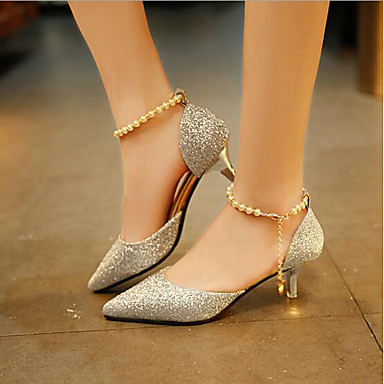 dd450068ae7 Women s Shoes PU(Polyurethane) Summer Comfort Heels Low Heel Gold   Black    Silver