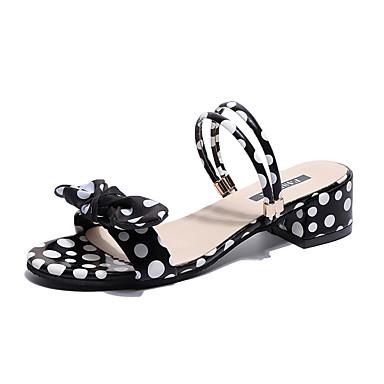 Pentru femei Pantofi PU Vară Confortabili Sandale Plimbare Toc Îndesat Vârf deschis Alb / Negru