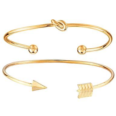 abordables Bracelet-Bracelet Jonc Manchettes Bracelets Twist Circle Arrow dames Mode Bracelet Bijoux Dorée pour Quotidien Plein Air
